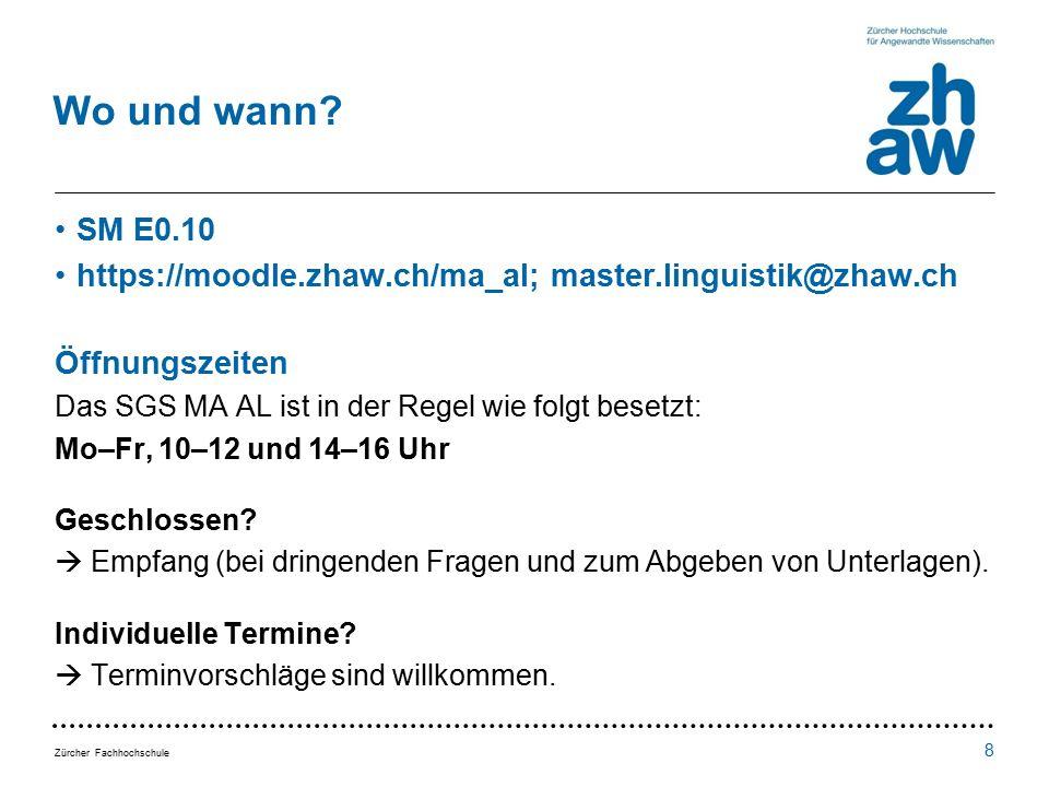 Zürcher Fachhochschule Wo und wann.
