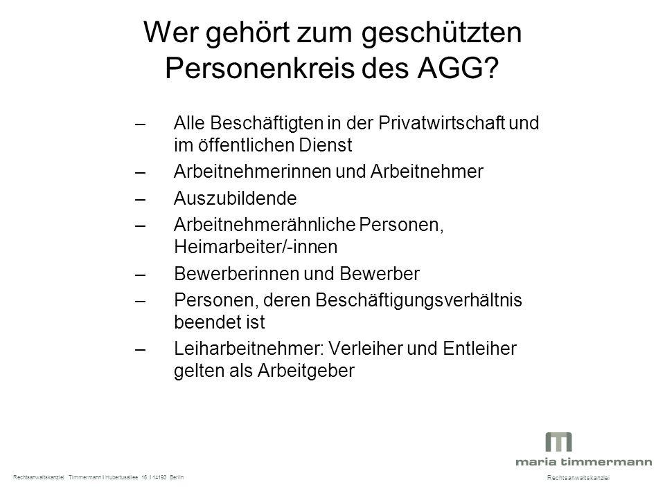 Wer gehört zum geschützten Personenkreis des AGG.