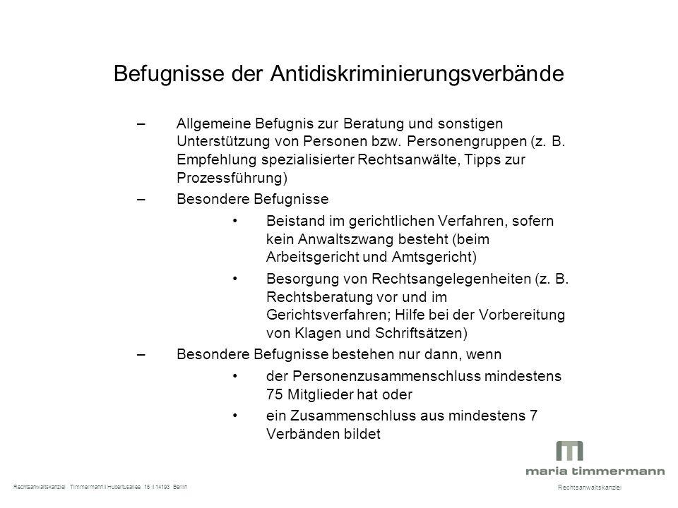 Befugnisse der Antidiskriminierungsverbände –Allgemeine Befugnis zur Beratung und sonstigen Unterstützung von Personen bzw.