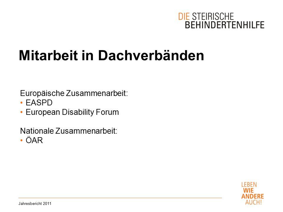 Mitarbeit in Dachverbänden Jahresbericht 2011 Europäische Zusammenarbeit: EASPD European Disability Forum Nationale Zusammenarbeit: ÖAR