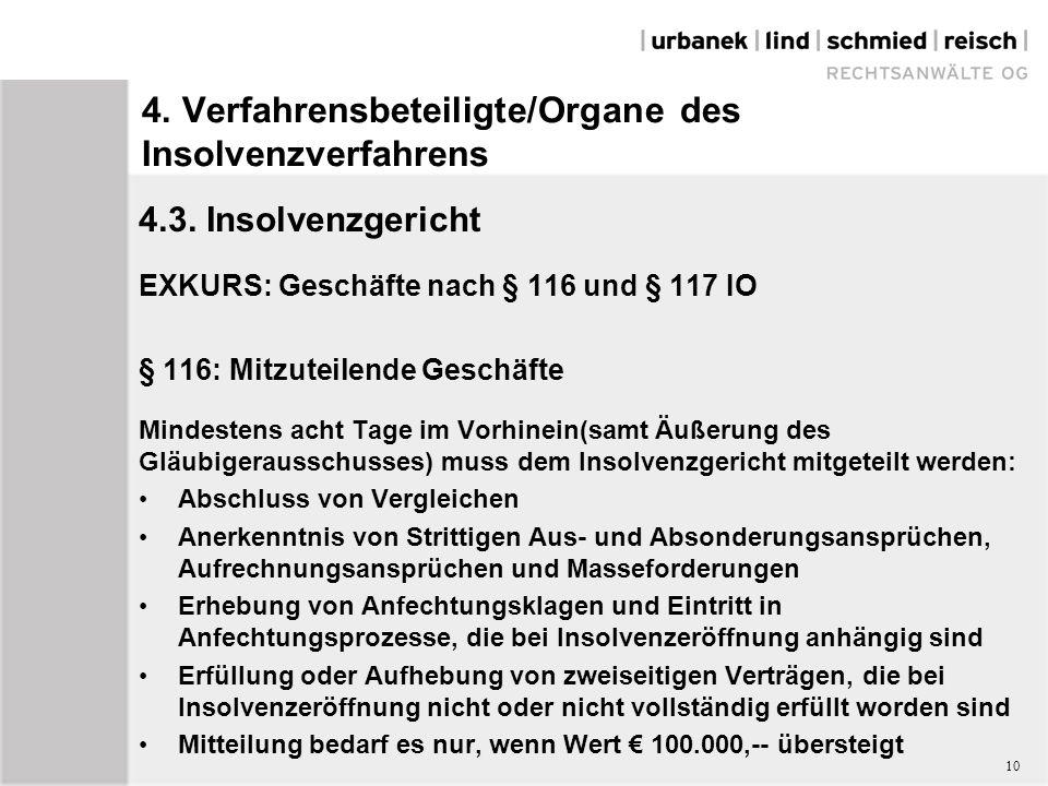 4. Verfahrensbeteiligte/Organe des Insolvenzverfahrens 4.3.
