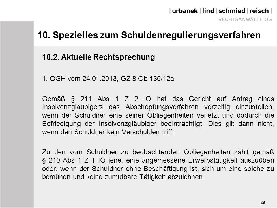 10. Spezielles zum Schuldenregulierungsverfahren 10.2.