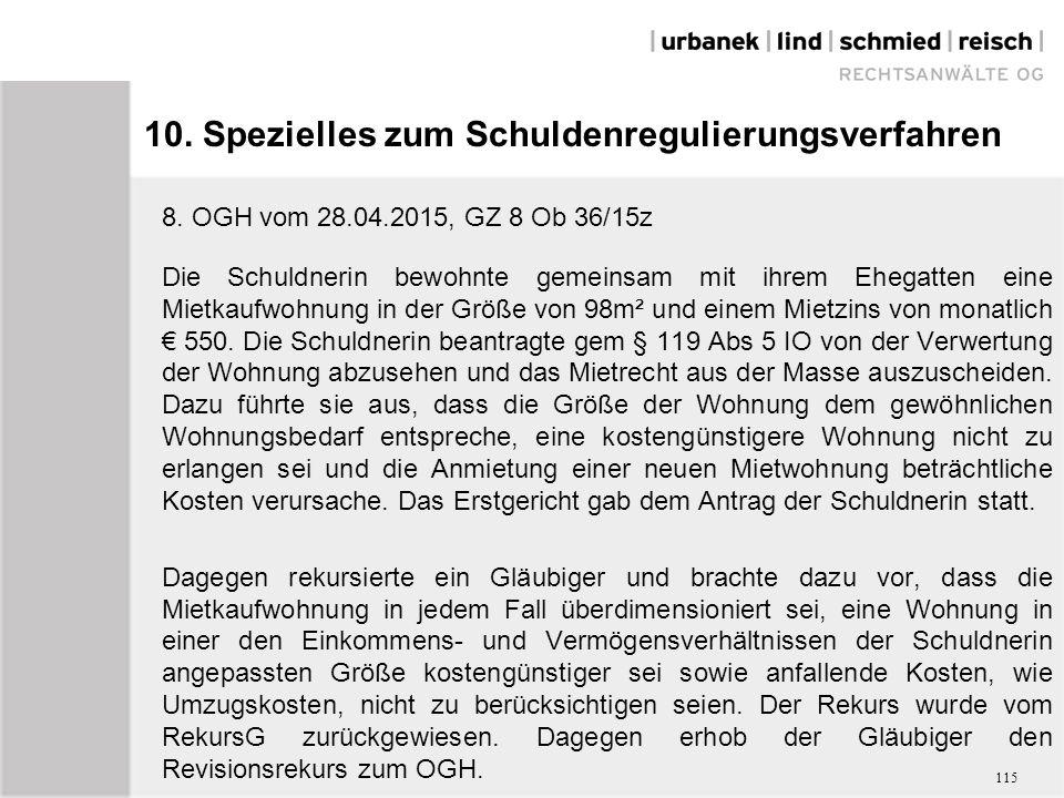 10. Spezielles zum Schuldenregulierungsverfahren 8.
