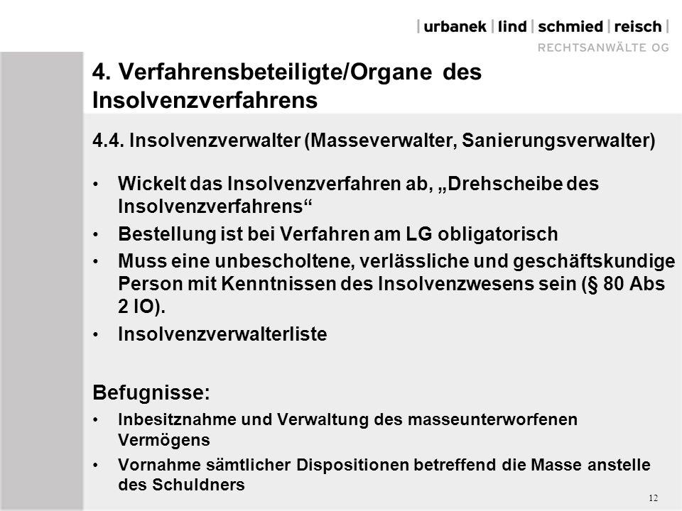 4. Verfahrensbeteiligte/Organe des Insolvenzverfahrens 4.4.