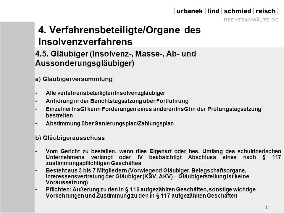4. Verfahrensbeteiligte/Organe des Insolvenzverfahrens 4.5.