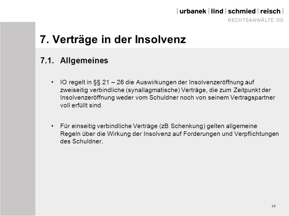 7. Verträge in der Insolvenz 7.1.