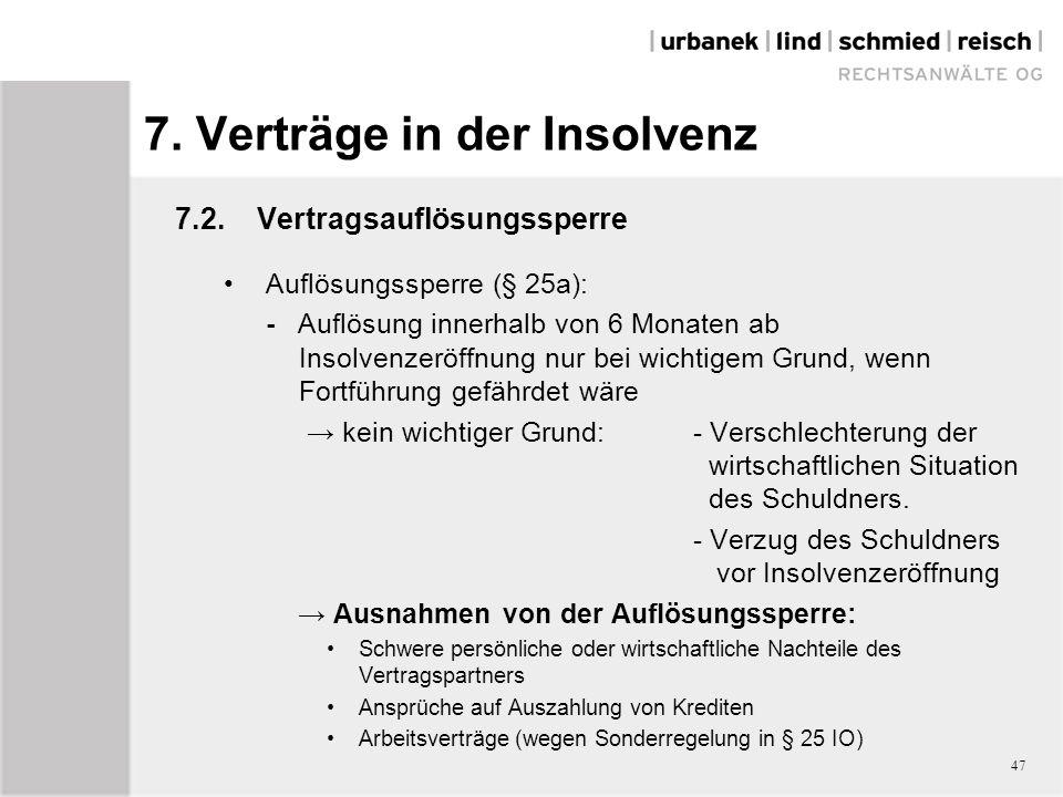 7. Verträge in der Insolvenz 7.2.