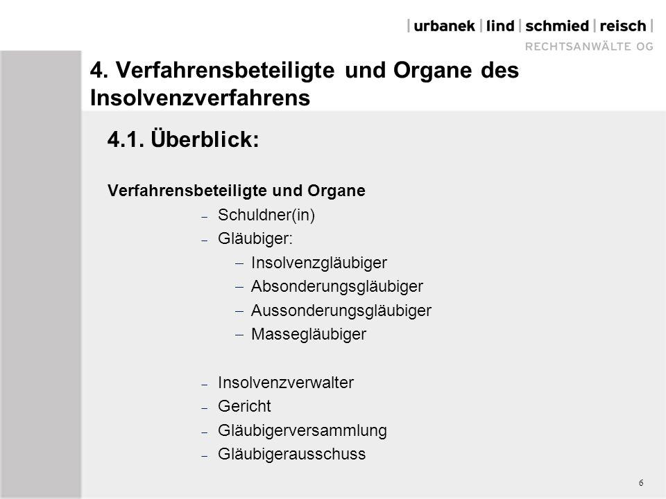 4. Verfahrensbeteiligte und Organe des Insolvenzverfahrens 4.1.