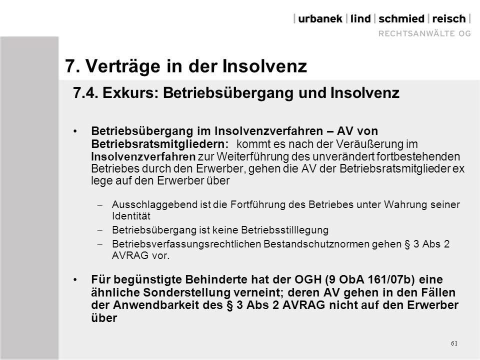 7. Verträge in der Insolvenz 7.4.