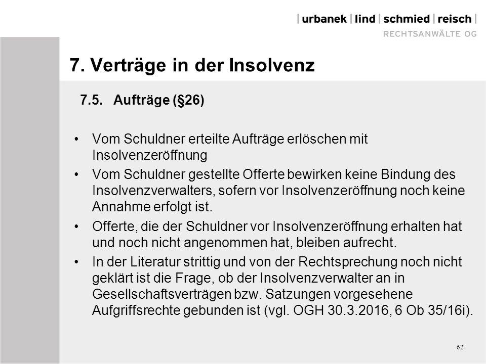 7. Verträge in der Insolvenz 7.5.