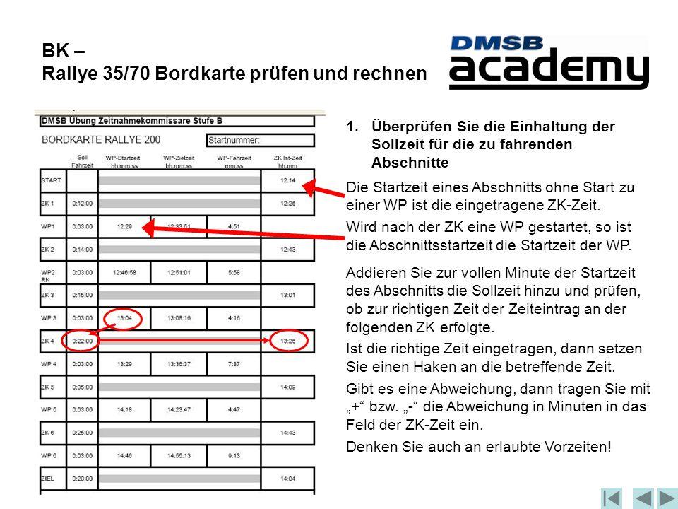 BK – Rallye 35/70 Bordkarte prüfen und rechnen 1.Überprüfen Sie die Einhaltung der Sollzeit für die zu fahrenden Abschnitte Addieren Sie zur vollen Minute der Startzeit des Abschnitts die Sollzeit hinzu und prüfen, ob zur richtigen Zeit der Zeiteintrag an der folgenden ZK erfolgte.