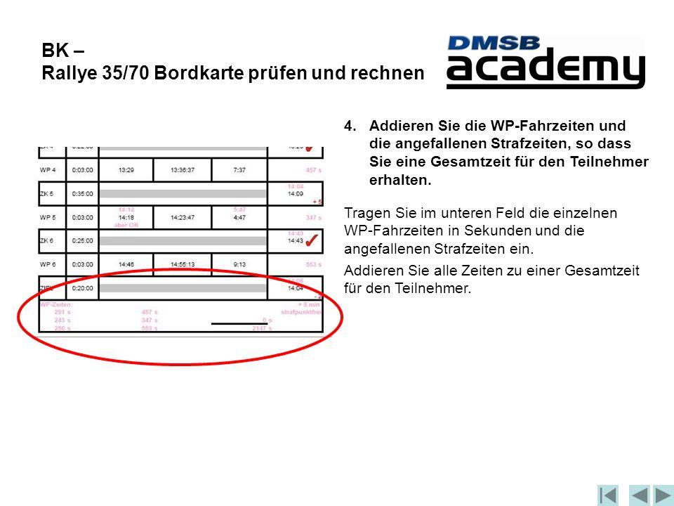 BK – Rallye 35/70 Bordkarte prüfen und rechnen 4.Addieren Sie die WP-Fahrzeiten und die angefallenen Strafzeiten, so dass Sie eine Gesamtzeit für den Teilnehmer erhalten.