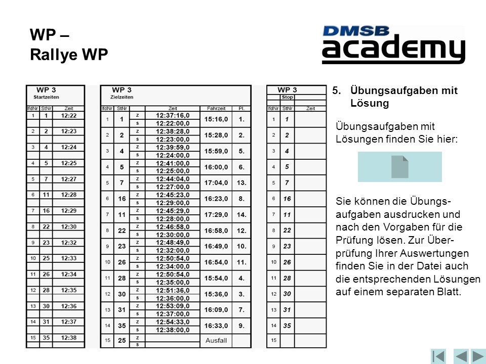 WP – Rallye WP 5.Übungsaufgaben mit Lösung Übungsaufgaben mit Lösungen finden Sie hier: Sie können die Übungs- aufgaben ausdrucken und nach den Vorgaben für die Prüfung lösen.