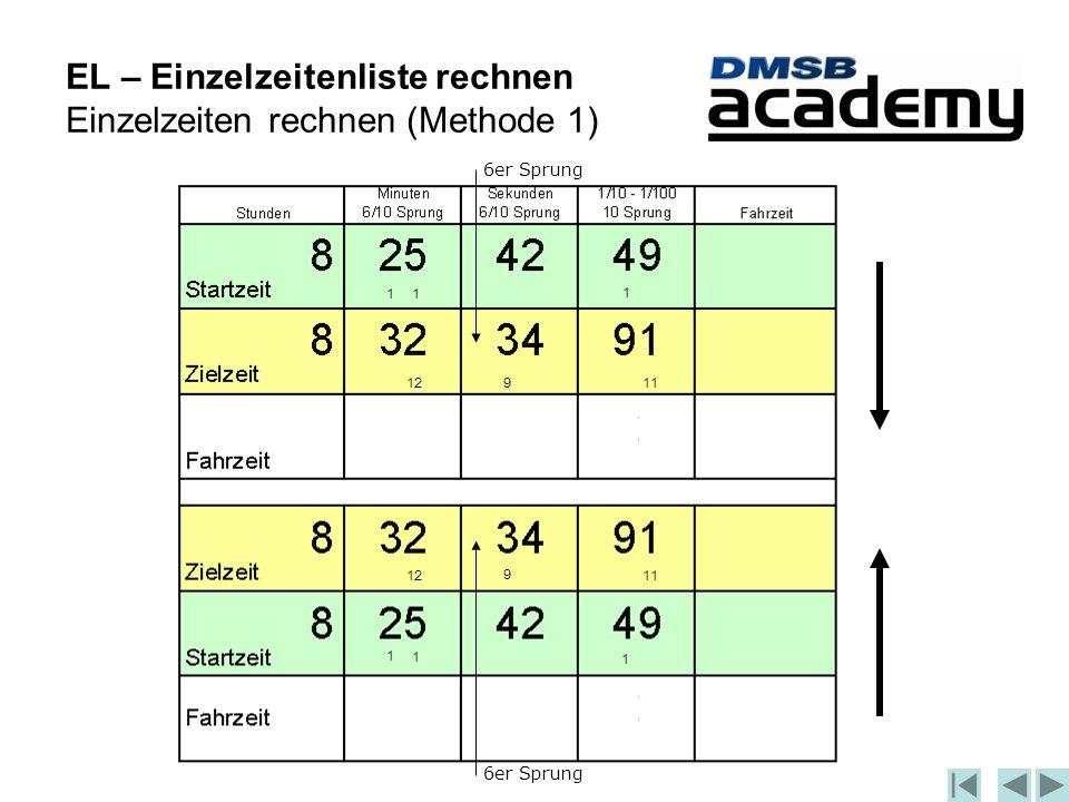 EL – Einzelzeitenliste rechnen Einzelzeiten rechnen (Methode 1) 6er Sprung 1 1 1 1 1 1 1112 11129 9