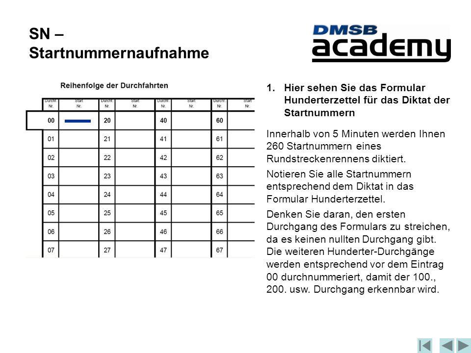 SN – Startnummernaufnahme 1.Hier sehen Sie das Formular Hunderterzettel für das Diktat der Startnummern Innerhalb von 5 Minuten werden Ihnen 260 Startnummern eines Rundstreckenrennens diktiert.