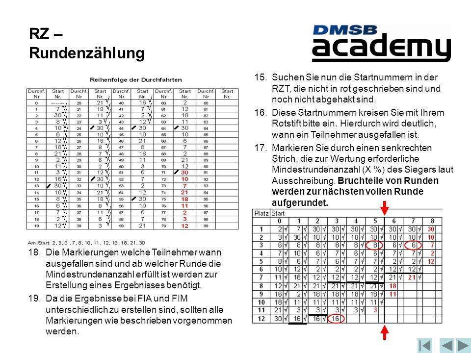 RZ – Rundenzählung 15.Suchen Sie nun die Startnummern in der RZT, die nicht in rot geschrieben sind und noch nicht abgehakt sind.