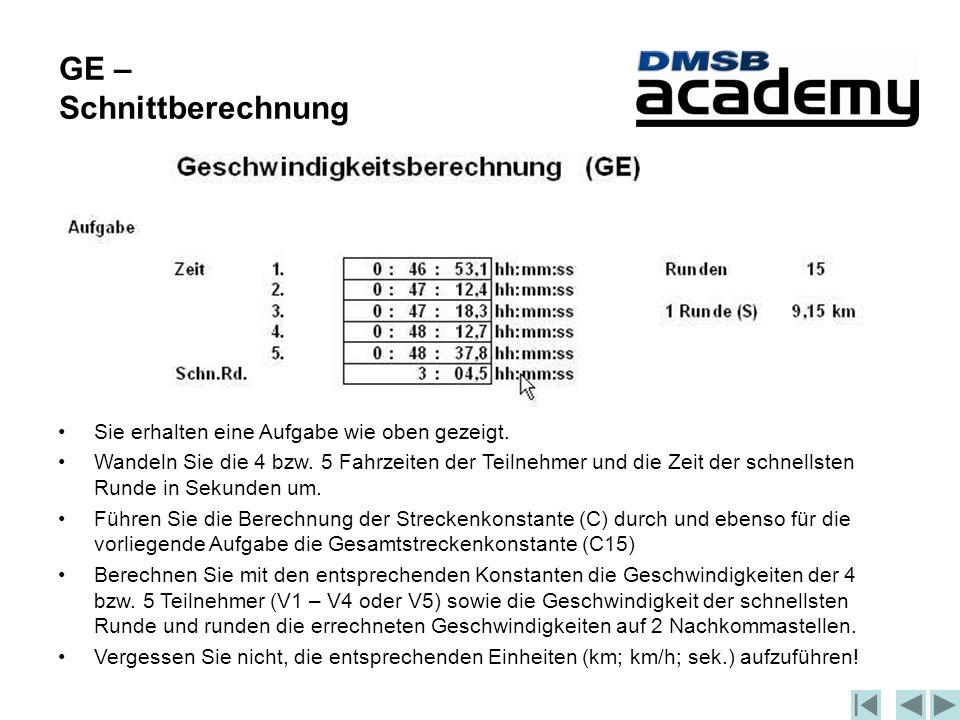 GE – Schnittberechnung Sie erhalten eine Aufgabe wie oben gezeigt.