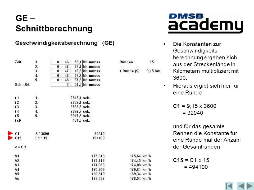 GE – Schnittberechnung Die Konstanten zur Geschwindigkeits- berechnung ergeben sich aus der Streckenlänge in Kilometern multipliziert mit 3600.
