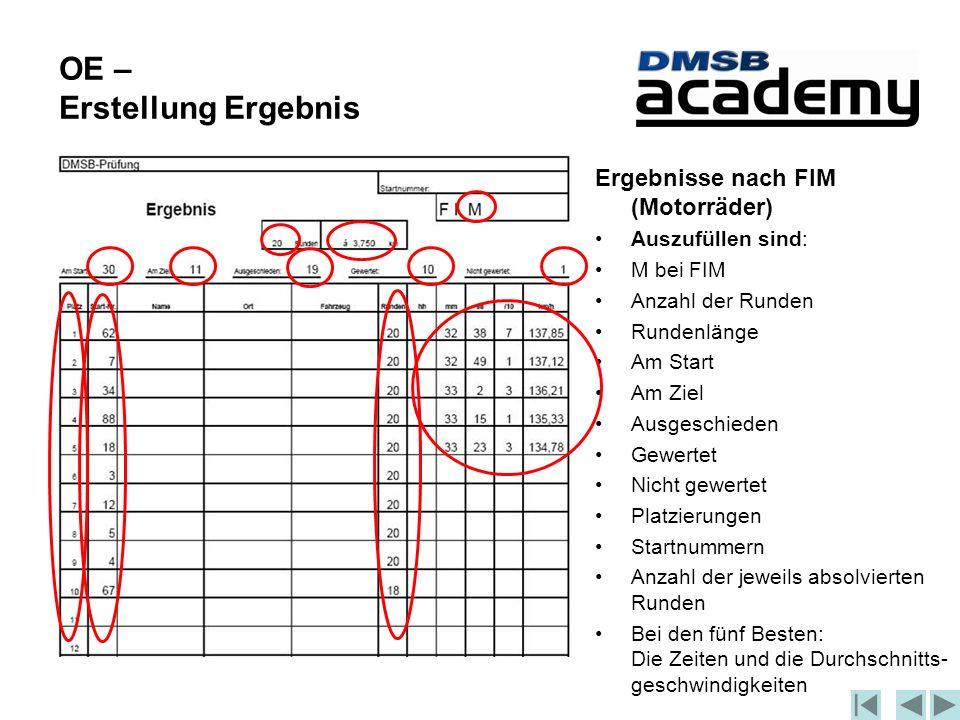 OE – Erstellung Ergebnis Ergebnisse nach FIM (Motorräder) Auszufüllen sind: M bei FIM Anzahl der Runden Rundenlänge Am Start Am Ziel Ausgeschieden Gewertet Nicht gewertet Platzierungen Startnummern Anzahl der jeweils absolvierten Runden Bei den fünf Besten: Die Zeiten und die Durchschnitts- geschwindigkeiten