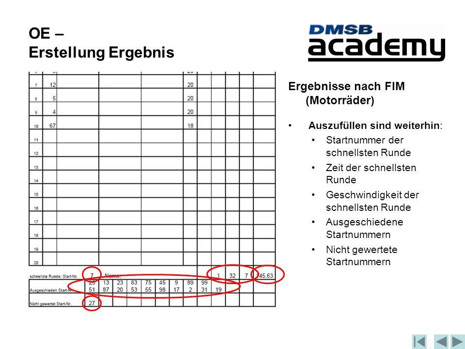 OE – Erstellung Ergebnis Ergebnisse nach FIM (Motorräder) Auszufüllen sind weiterhin: Startnummer der schnellsten Runde Zeit der schnellsten Runde Geschwindigkeit der schnellsten Runde Ausgeschiedene Startnummern Nicht gewertete Startnummern