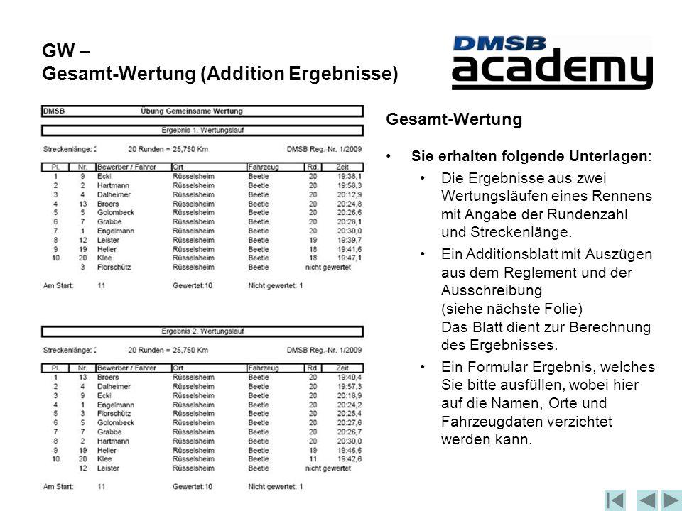 GW – Gesamt-Wertung (Addition Ergebnisse) Gesamt-Wertung Sie erhalten folgende Unterlagen: Die Ergebnisse aus zwei Wertungsläufen eines Rennens mit Angabe der Rundenzahl und Streckenlänge.