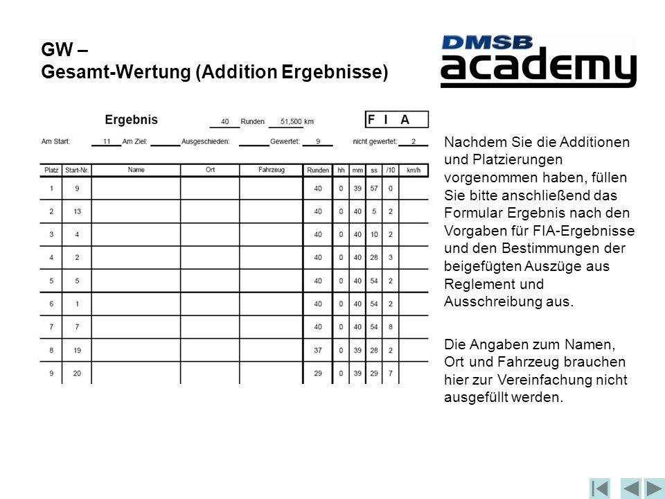 GW – Gesamt-Wertung (Addition Ergebnisse) Nachdem Sie die Additionen und Platzierungen vorgenommen haben, füllen Sie bitte anschließend das Formular Ergebnis nach den Vorgaben für FIA-Ergebnisse und den Bestimmungen der beigefügten Auszüge aus Reglement und Ausschreibung aus.