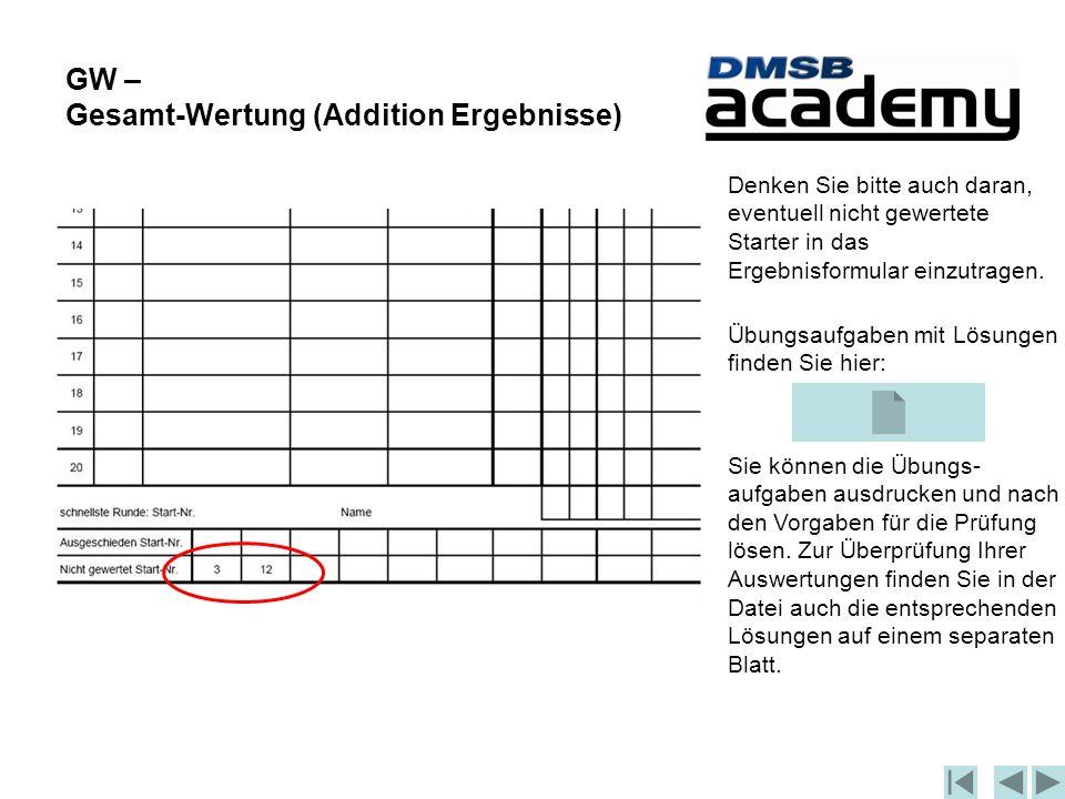 GW – Gesamt-Wertung (Addition Ergebnisse) Denken Sie bitte auch daran, eventuell nicht gewertete Starter in das Ergebnisformular einzutragen.