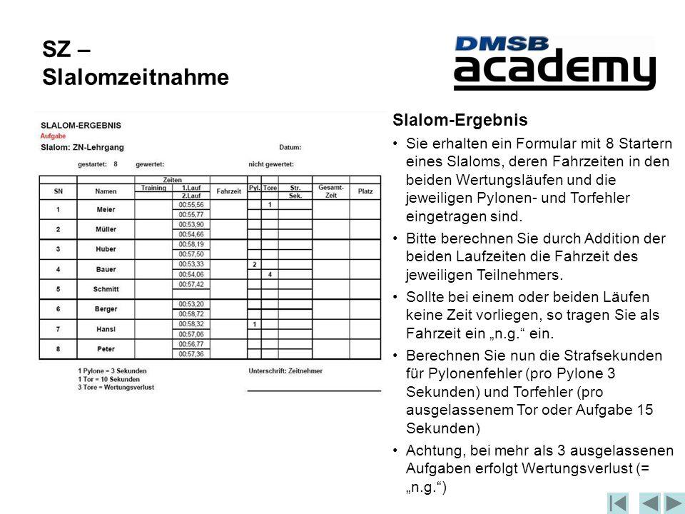 Slalom-Ergebnis Sie erhalten ein Formular mit 8 Startern eines Slaloms, deren Fahrzeiten in den beiden Wertungsläufen und die jeweiligen Pylonen- und Torfehler eingetragen sind.