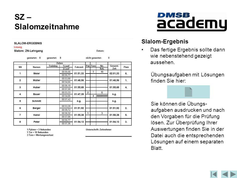 SZ – Slalomzeitnahme Slalom-Ergebnis Das fertige Ergebnis sollte dann wie nebenstehend gezeigt aussehen.
