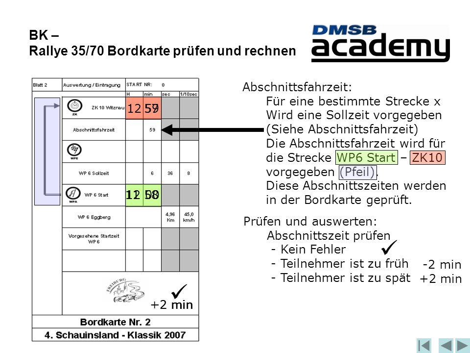 BK – Rallye 35/70 Bordkarte prüfen und rechnen 1200 5912 Abschnittsfahrzeit: Für eine bestimmte Strecke x Wird eine Sollzeit vorgegeben (Siehe Abschnittsfahrzeit) Die Abschnittsfahrzeit wird für die Strecke WP6 Start – ZK10 vorgegeben (Pfeil).