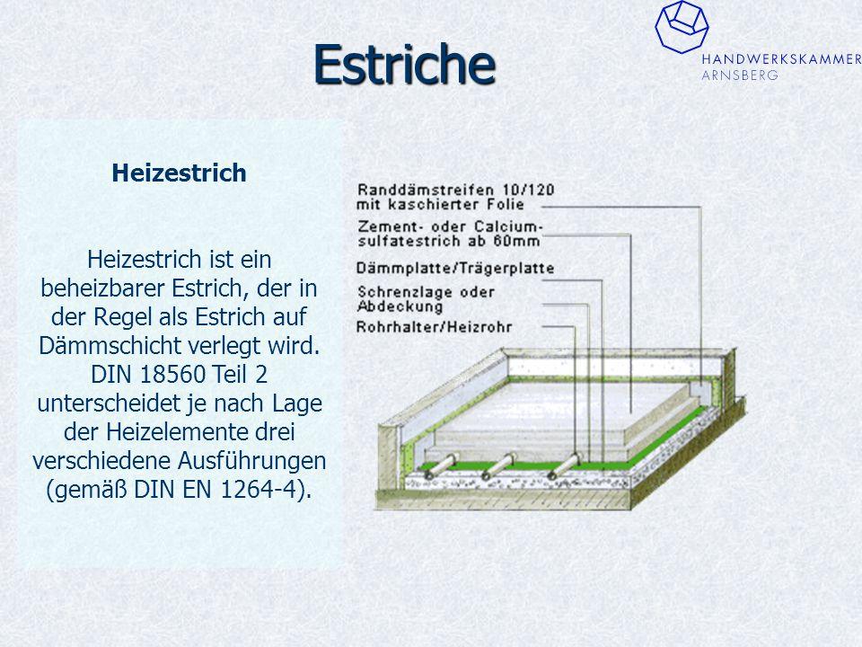 Estriche Heizestrich Heizestrich ist ein beheizbarer Estrich, der in der Regel als Estrich auf Dämmschicht verlegt wird.