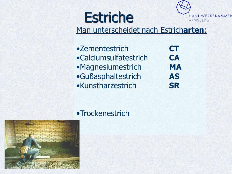 Estriche Man unterscheidet nach Estricharten: ZementestrichCT CalciumsulfatestrichCA MagnesiumestrichMA GußasphaltestrichAS KunstharzestrichSR Trockenestrich