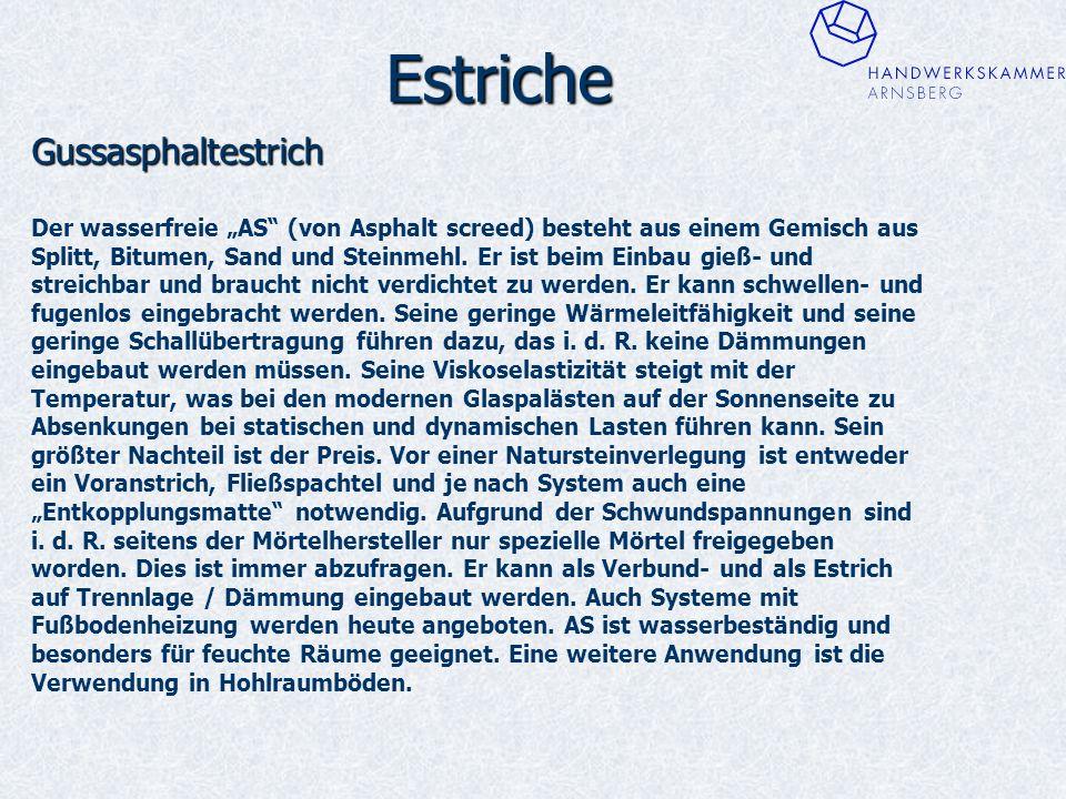 """Estriche Gussasphaltestrich Der wasserfreie """"AS (von Asphalt screed) besteht aus einem Gemisch aus Splitt, Bitumen, Sand und Steinmehl."""