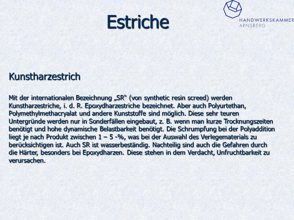 """Estriche Kunstharzestrich Mit der internationalen Bezeichnung """"SR (von synthetic resin screed) werden Kunstharzestriche, i."""