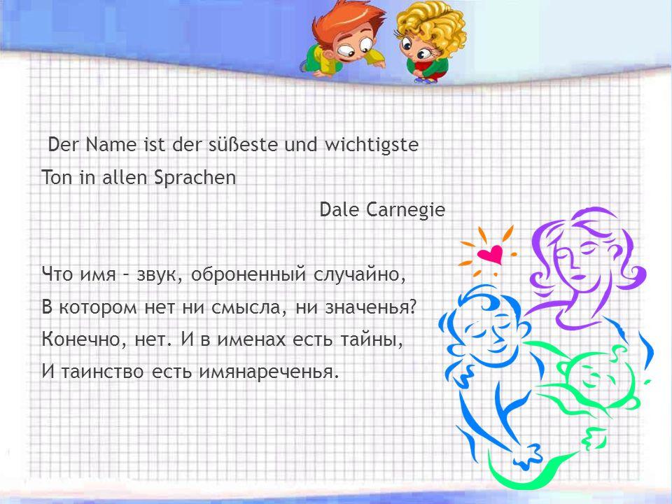 Der Name ist der süßeste und wichtigste Ton in allen Sprachen Dale Carnegie Что имя – звук, оброненный случайно, В котором нет ни смысла, ни значенья.