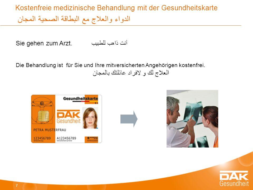Kostenfreie medizinische Behandlung mit der Gesundheitskarte الدواء والعلاج مع البطاقة الصحية المجان Sie gehen zum Arzt.