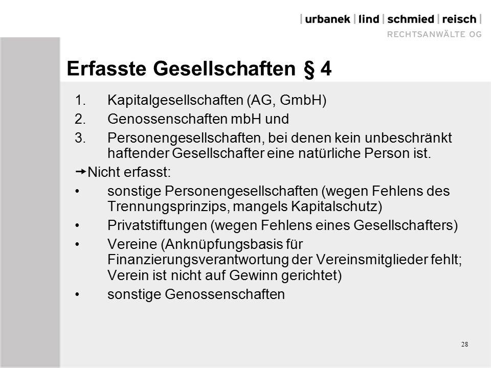 28 Erfasste Gesellschaften § 4 1. Kapitalgesellschaften (AG, GmbH) 2.