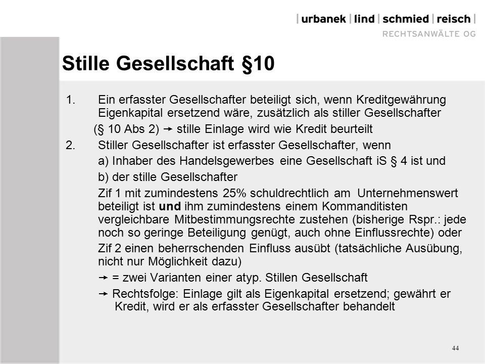 44 Stille Gesellschaft §10 1.