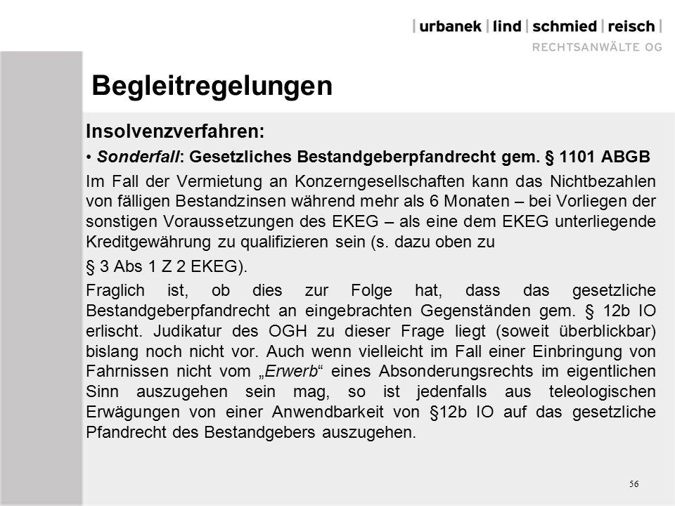 Begleitregelungen Insolvenzverfahren: Sonderfall: Gesetzliches Bestandgeberpfandrecht gem.