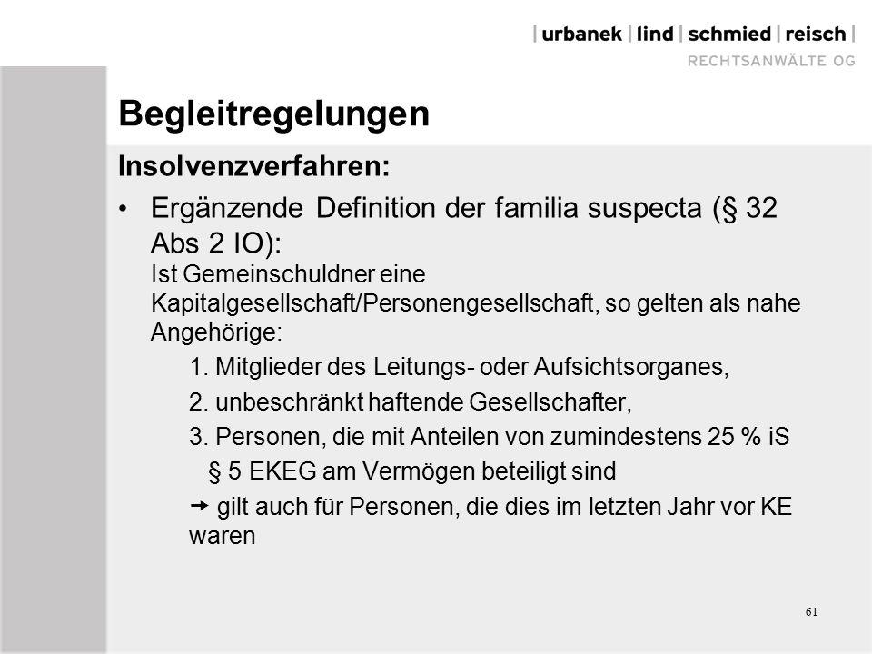 61 Begleitregelungen Insolvenzverfahren: Ergänzende Definition der familia suspecta (§ 32 Abs 2 IO): Ist Gemeinschuldner eine Kapitalgesellschaft/Personengesellschaft, so gelten als nahe Angehörige: 1.