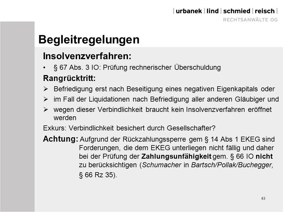 63 Begleitregelungen Insolvenzverfahren: § 67 Abs.