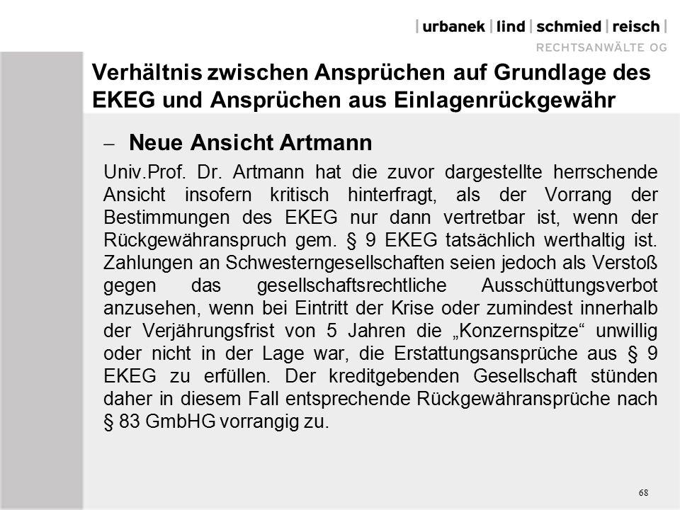 Verhältnis zwischen Ansprüchen auf Grundlage des EKEG und Ansprüchen aus Einlagenrückgewähr  Neue Ansicht Artmann Univ.Prof.