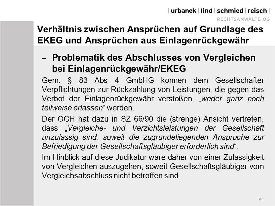 Verhältnis zwischen Ansprüchen auf Grundlage des EKEG und Ansprüchen aus Einlagenrückgewähr  Problematik des Abschlusses von Vergleichen bei Einlagenrückgewähr/EKEG Gem.