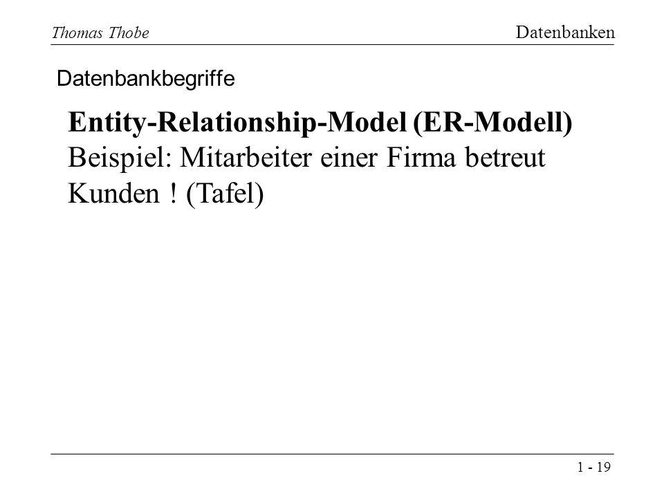 1 - 19 Thomas Thobe Datenbanken Datenbankbegriffe Entity-Relationship-Model (ER-Modell) Beispiel: Mitarbeiter einer Firma betreut Kunden .