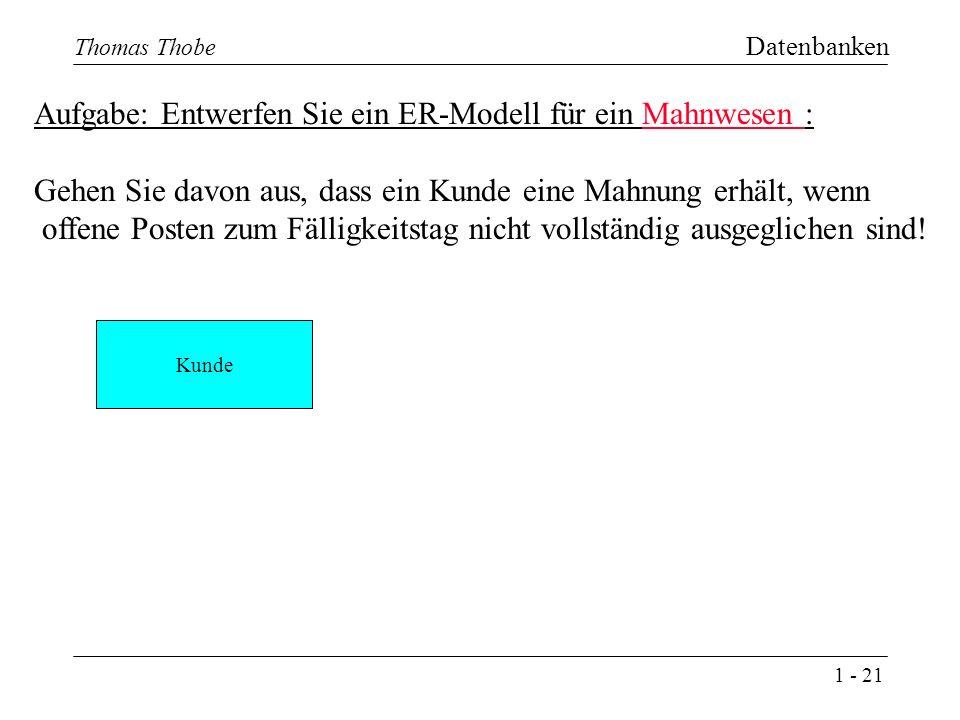 1 - 21 Thomas Thobe Datenbanken Aufgabe: Entwerfen Sie ein ER-Modell für ein Mahnwesen : Gehen Sie davon aus, dass ein Kunde eine Mahnung erhält, wenn offene Posten zum Fälligkeitstag nicht vollständig ausgeglichen sind.