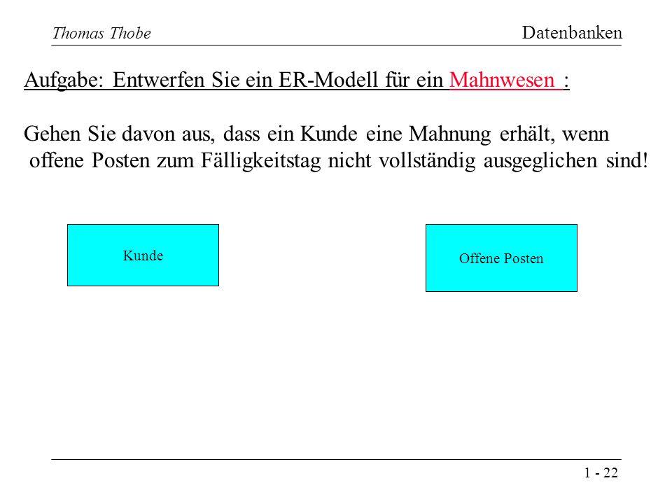 1 - 22 Thomas Thobe Datenbanken Aufgabe: Entwerfen Sie ein ER-Modell für ein Mahnwesen : Gehen Sie davon aus, dass ein Kunde eine Mahnung erhält, wenn offene Posten zum Fälligkeitstag nicht vollständig ausgeglichen sind.