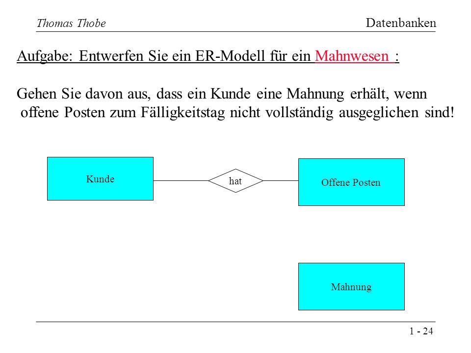 1 - 24 Thomas Thobe Datenbanken Aufgabe: Entwerfen Sie ein ER-Modell für ein Mahnwesen : Gehen Sie davon aus, dass ein Kunde eine Mahnung erhält, wenn offene Posten zum Fälligkeitstag nicht vollständig ausgeglichen sind.