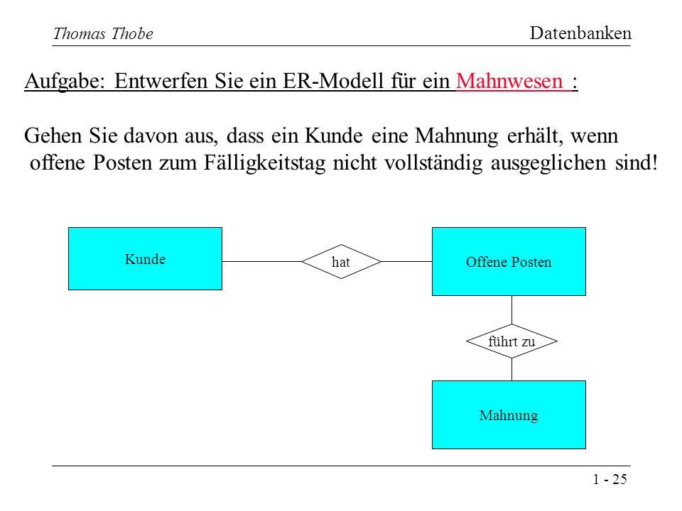1 - 25 Thomas Thobe Datenbanken Aufgabe: Entwerfen Sie ein ER-Modell für ein Mahnwesen : Gehen Sie davon aus, dass ein Kunde eine Mahnung erhält, wenn offene Posten zum Fälligkeitstag nicht vollständig ausgeglichen sind.