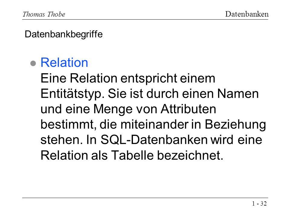 1 - 32 Thomas Thobe Datenbanken l Relation Eine Relation entspricht einem Entitätstyp.