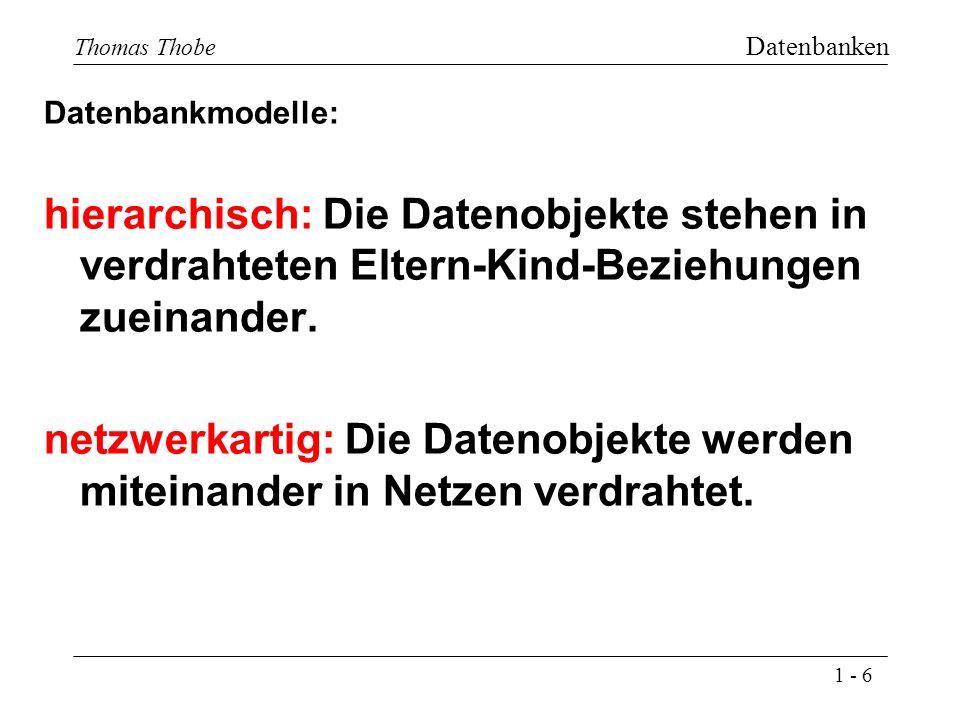1 - 6 Thomas Thobe Datenbanken Datenbankmodelle: hierarchisch: Die Datenobjekte stehen in verdrahteten Eltern-Kind-Beziehungen zueinander.